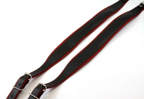Red - Black 5cm Accordion Genuine Leather Straps 120 bass