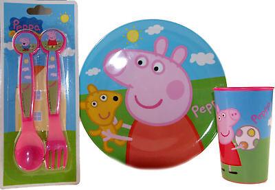 Peppa Pig 3 Teile Mehl Set Platte, Löffel Und Gabel Und Tasse