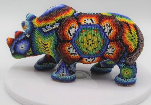 Big Mexican Huichol Beaded Resin Rhino Animal