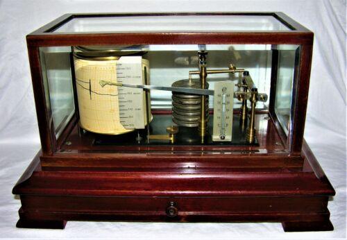 VINTAGE LUFFT MAHOGANY CASED BAROGRAPH W/ CHARTS - CIRCA 1930