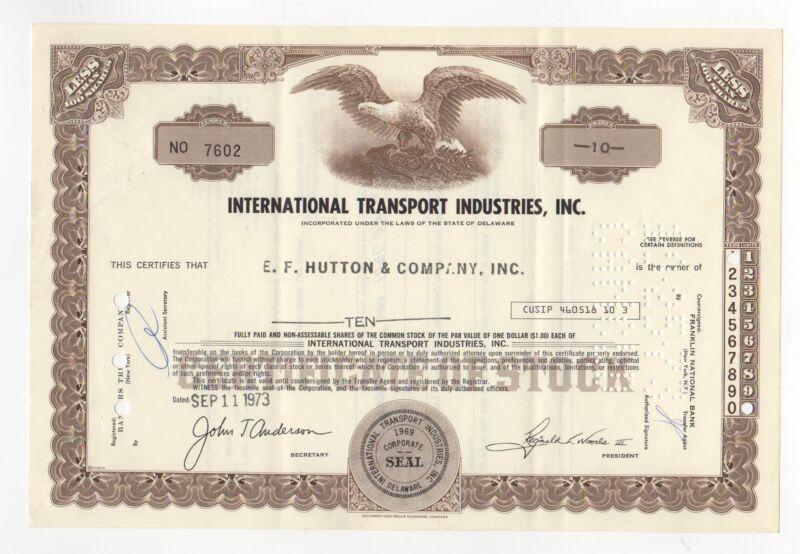 International Transport Industries Inc. Stock Certificate