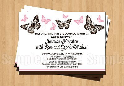 10 BUTTERFLY Birthday Party Bridal Shower Personalized Invitations ANY COLOR](Butterfly Birthday Invitations)