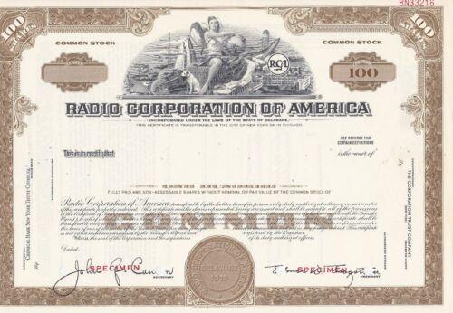 RADIO CORPORATION OF AMERICA SPECIMEN STOCK CERTIFICATE RCA NIPPER 1960