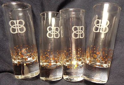 (Set of 4 Baileys Irish Cream - Tall Shot Glasses - Clear glass with gold design)