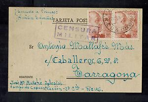 1940 Reus Spain Concentration camp postcard cover to Zaragoza Jose Iglesias