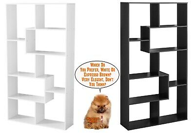 Tall Bookcase Cubby large Open Bookshelf Modern Cube 8 Shelf Display Brown White](White Cubby Shelf)