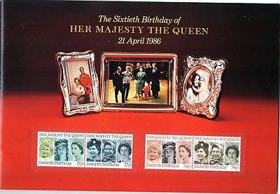 1986 STAMP SOUVENIR BOOK HER MAJESTY THE QUEEN 60TH BIRTHDAY WITH MNH STAMPS