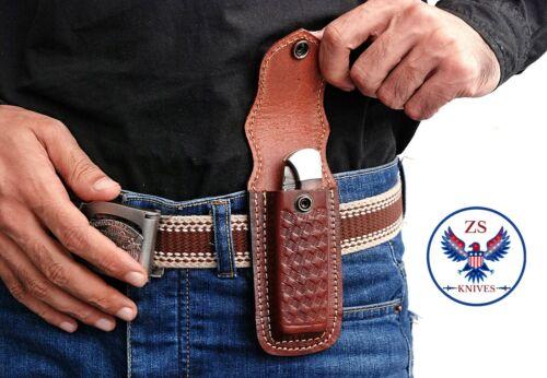 Custom Hand Made LEATHER SHEATH FOR FOLDING POCKET KNIFE - ZS 08