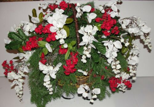 Grave Cemetery Tombstone Saddle Basket  White Wisteria Memorial Silk Flowers