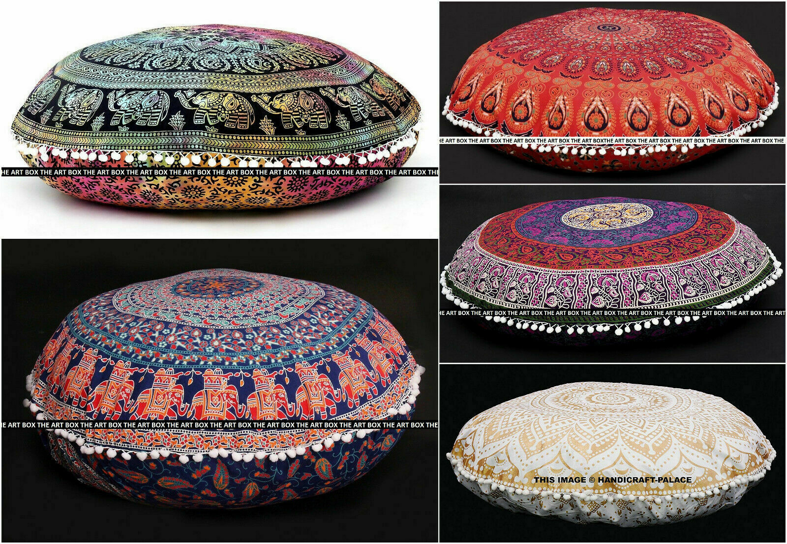 """Wholesale Lot of 5Pc Indian Mandala 32"""" Round Floor Pillow Y"""