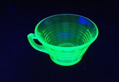 Vintage Hocking Glass  Green Vaseline Uranium Glass Coffee Cup
