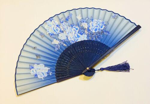 Chinese Peony Flower and Butterfly Design Hand Folding Fan Silk Blend Fan