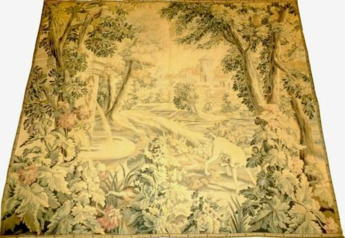 Large Antique French Chateau Verdure Wildlife Tapestry  189cmX165cm