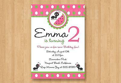 10 Watermelon Summer Fun Theme Birthday Party Invitations 2nd 3rd 4th 5th 6th