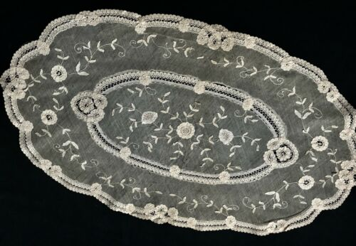 "Antique Delicate Ecru Hand Made Tape Embroidery on the Veil Oval Doily 23"" x"