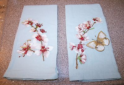 Set 2 Pottery Barn Dish Guest Towels Embroidered Butterfly Flower Blossoms Blue