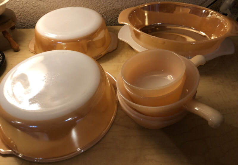 Vintage Set Of Fire-King Orange Milk Glass Serving And Cookware 9 Pieces Bowls