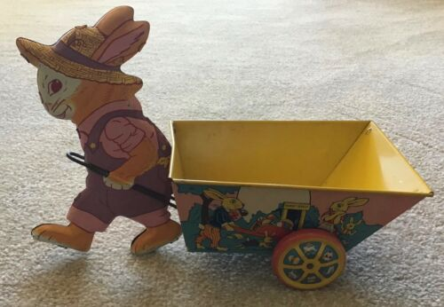 "Vintage J. Chein  ""Easter Roost"" Rabbit With Cart Tin Litho Candy Container"