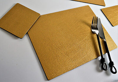 Set 8 ARTISAN GOLD Bonded Leather PLACEMATS & 8 COASTERS UK Made TABLE MATS