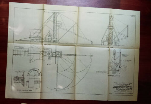 1913 Panama Canal Diagram Balboa Terminals Showing Travelling Concrete Tower