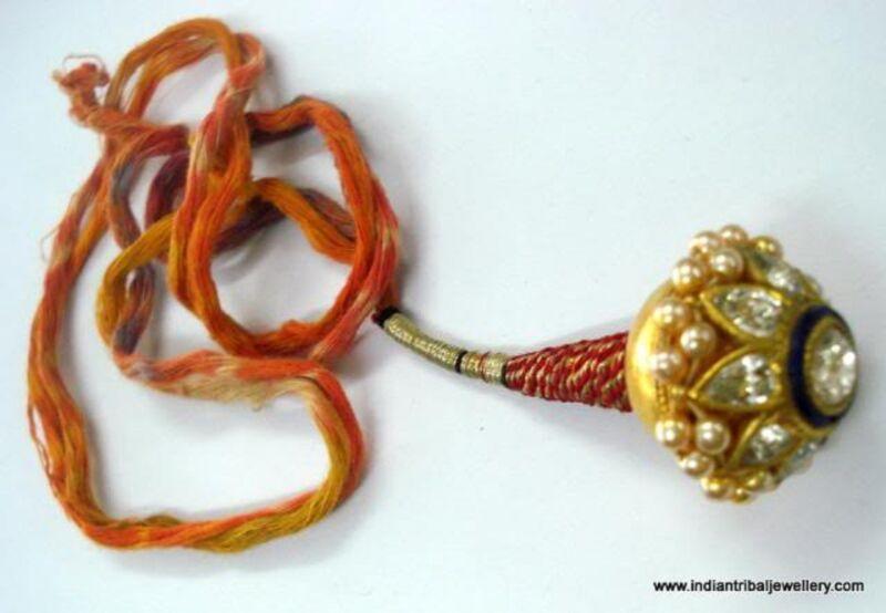 22k vintage antique old tribal gold head piece kundan tika pendant