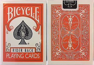 Orange Rider Back Bicycle Playing Cards Poker Size Deck USPCC New Sealed