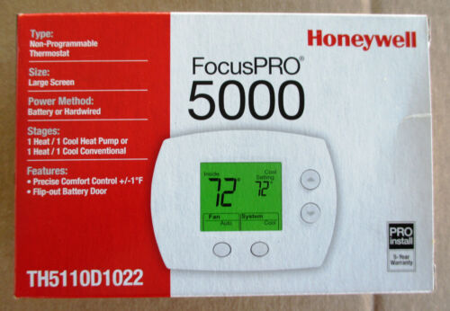 TH5110D1022 Honeywell FocusPro 5000 Non-Programmable Thermostat 1H/1C