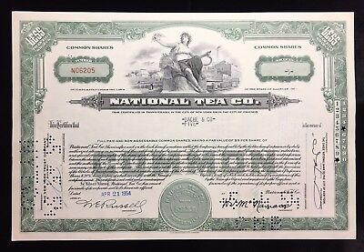 NATIONAL TEA COMPANY COMMON STOCK CERTIFICATE STAMPED / PUNCHED 1950'S ERA