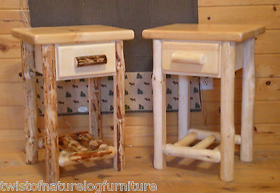 Quality Log ( Log end table/ night stand Space Saver Top Quality!!  Rustic Log Furniture  )