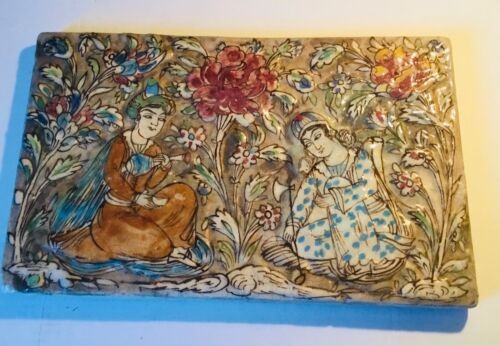 Gorgeous Antique QAJAR PERSIAN Large Pottery Polychrome Tile - Couple in Garden