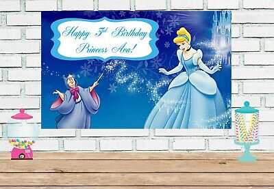 Cinderella Birthday Banner (3x6 cinderella vinyl Birthday)