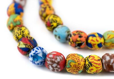 House Medley Round Fused Recycled Glass Beads 11mm Ghana African Multicolor - Painted Round Glass