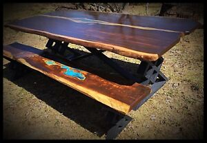 Large 8' handcrafted live edge resin table & bench set