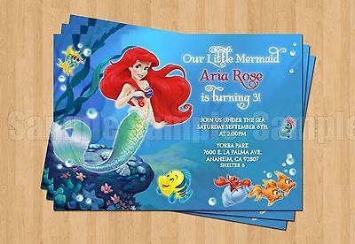 Ariel Little Mermaid Birthday Invitation JPEG Digital 1st 2nd 3rd 4th 5th 6th ](Ariel Invitations)