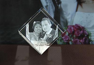 Geschenkidee Glaswürfel Foto von 2D in 3D Laser Foto Hochzeit Ostern NEU Hund