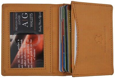 Ag Wallets Mens Premium Leather Business And Credit Card Holder Wallet Tan