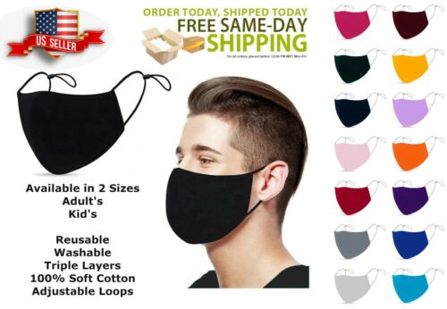 ADULTS & KIDS Face Mask 3 Layers 100% Cotton Washable Reusable ADJUSTABLE LOOPS