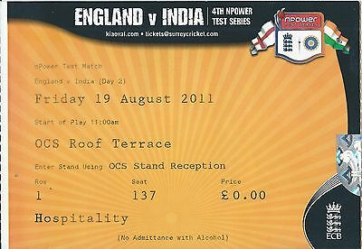 ENGLAND V INDIA 19 August 2011 4th NPower Test Series Ticket