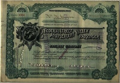 Federal Street   Pleasant Valley Passenger Railway Company Stock Certificate