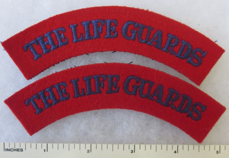 PAIR ORIGINAL Vintage BRITISH ARMY SHOULDER FLASH PATCHES - THE LIFE GUARDS