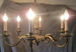 ancien lustre en bronze 6 branches des annees 50 ebay. Black Bedroom Furniture Sets. Home Design Ideas