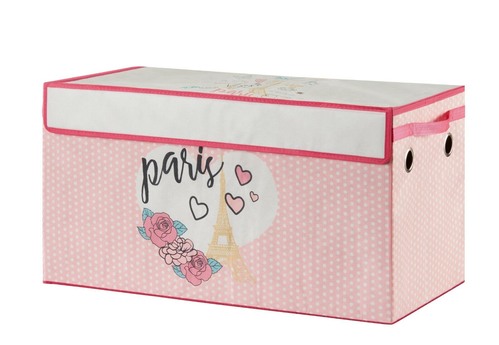 Paris Love Pink Canvas Toy Storage Trunk, Collapsible and Li