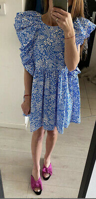 ZARA WOMAN NEW SS20 PRINTED DRESS FLORAL FRILLS BLUE SIZES M 8342/105