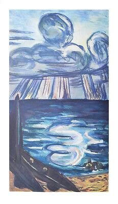 Max Beckmann Kunstdruck Poster Bild seltener Lichtdruck Meer und Wolken 86x50 cm