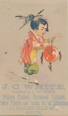 C9840 VICTORIAN TRADE CARD J.C. WHITE PICTURE FRAMES BOSTON (Boston Trade Frames)