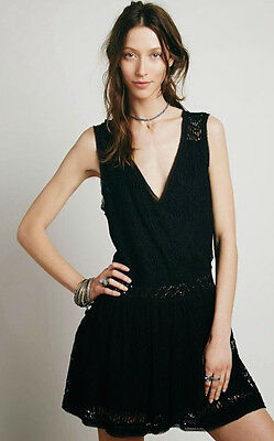 New Free People First Bloom Deco Black Lace Dress Relaxed Fit Size Large  168