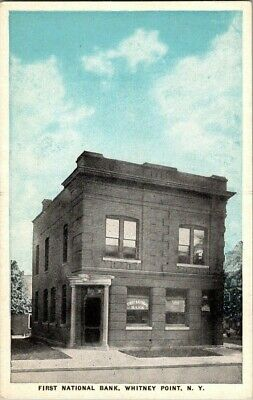 1918. FIRST NATIONAL BANK. WHITNEY POINT, NY POSTCARD s12 (Whitney Bank)