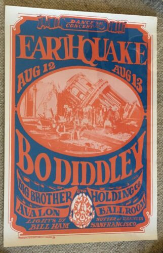 ORIGINAL 1966 BO DIDDLEY & BIG BROTHER & HOLDING COMPANY CONCERT POSTER FD-021