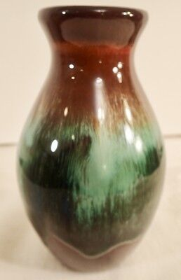 "CCC Pottery Canadian Ceramic Craft Short Vase Brown Green Drip Glaze 5 3/4"" Tall"