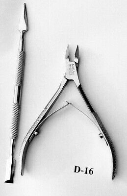 1+Pairs Cuticle Nippers  D-16 Laser sharp nippers full jaw+Nail pusher best